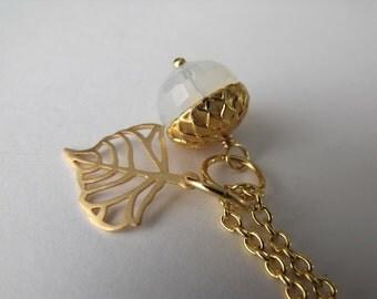 Winter Acorn Gold Beadwork Necklace, Opal Pendant, Autumn Necklace