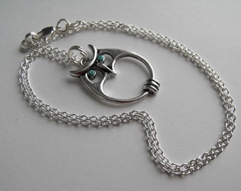 Owl Necklace, Mod Owl Pendant  Eco-Friendly Necklace