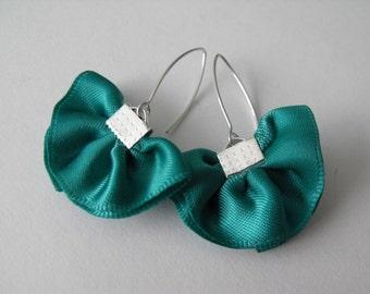 SALE - Satin Teal Sterling Silver Dangle Earrings