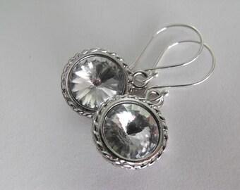 Crystal Earrings, Foiled Swarovski Rivoli Sterling Silver Dangle Earrings,Wedding Jewelry