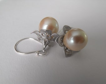 Ecru Pearl Drop Flowers, Sterling Silver, Dangle Earrings