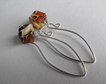 Natural Baltic Amber Earrings, Sterling Silver Dangle Earrings, Raw Amber Drop Earrings