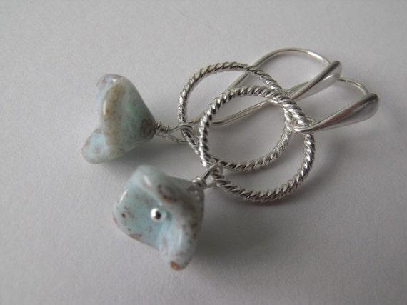 Light Blue Flower Bell Dangle Earrings, Mockingbird Eggs Flower Drop Earrings