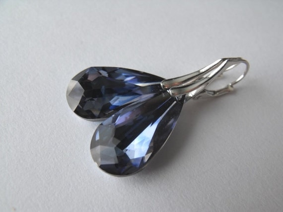 Denim  Blue Tear Drop Sterling Silver Earrings