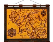 MIDDLE EARTH Map- Hand Burned Leather Wall Hanging -16x12 in. N