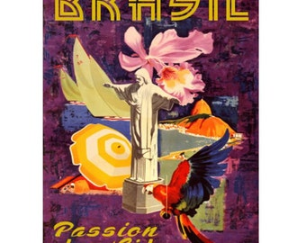 BRAZIL 3- Handmade Leather Wall Hanging - Travel Art