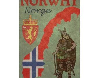 NORWAY 1F- Handmade Leather Wall Hanging - Travel Art