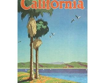 CALIFORNIA 17- Handmade Leather Wall Hanging - Travel Art