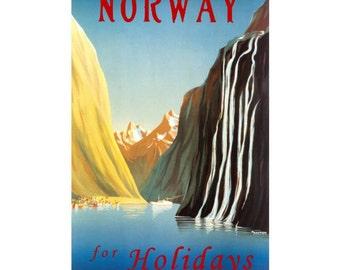 NORWAY 1- Handmade Leather Wall Hanging - Travel Art