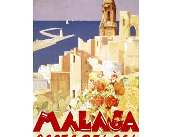 MALAGA Spain 2- Handmade Leather Wall Hanging - Travel Art