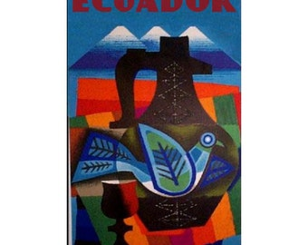 ECUADOR 1- Handmade Leather Wall Hanging - Travel Art