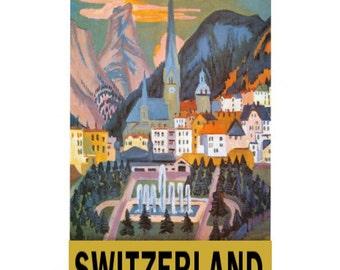 SWITZERLAND 6- Handmade Leather Wall Hanging - Travel Art