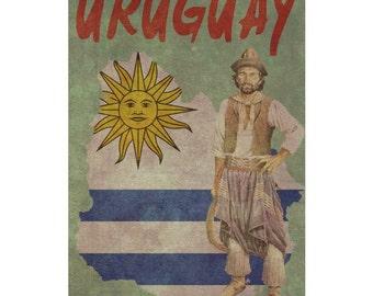 URUGUAY 1F- Handmade Leather Wall Hanging - Travel Art