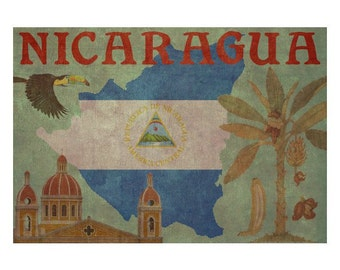NICARAGUA 1F- Handmade Leather Wall Hanging - Travel Art