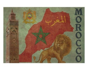 MOROCCO 1F- Handmade Leather Wall Hanging - Travel Art