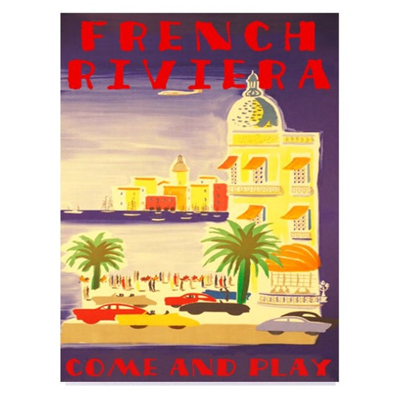 FRENCH RIVIERA 1- Handmade Leather Wall Hanging - Travel Art