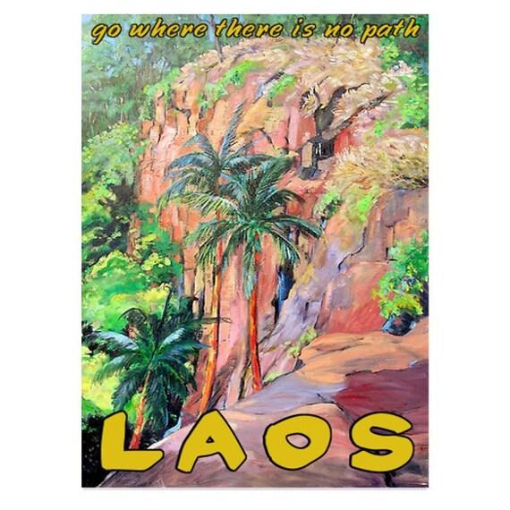 LAOS 1- Handmade Leather Wall Hanging - Travel Art