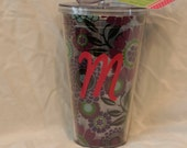 Sassy Sippers - Personalized Double Wall Acrylic Tumblers - 24 oz cup with straw Purple Floral