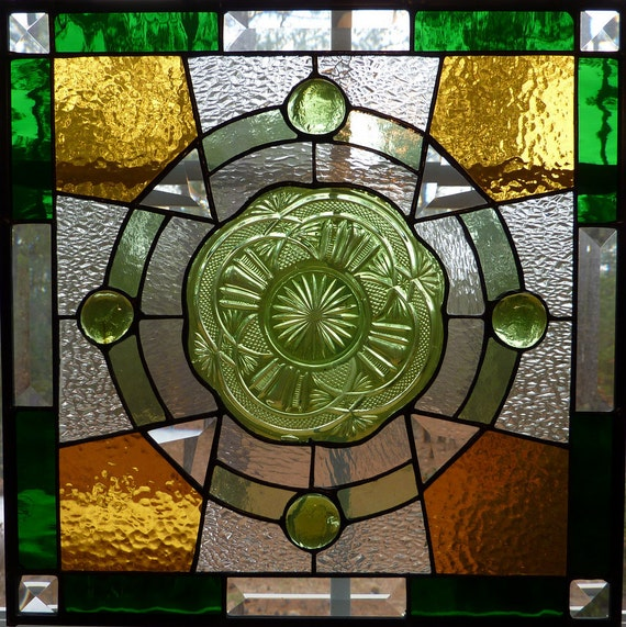Stained Glass Panel: Vintage Plate with Celtic Cross