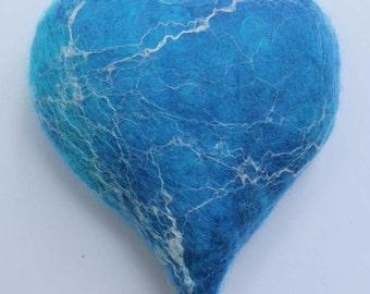 Needle Felting Kit making Four felt Blue Hearts DIY project, online tutorial