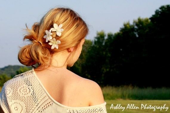 Set of Three (3) White Flower Hair Clips