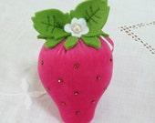 Hand dyed pink velvet strawberry pincushion : Freshly Picked pincushion
