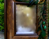 Artistic Picture Frame - Columbian Emerald - 5 x 7 Frame Embellished With Feathers and Jewels