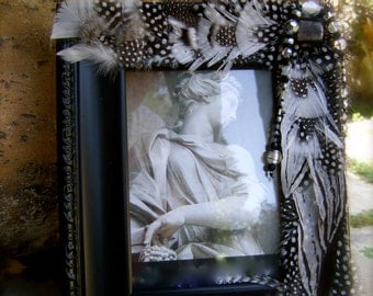 SALE Artistic Picture Frame - Platinum - 5x7 Frame Embellished With Feathers and Jewels