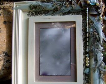 SALE Artistic Picture Frame - Blue Zircon - 5 x 7 Frame Embellished With Feathers and Jewels