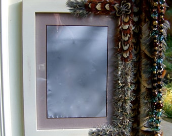 SALE Artistic Picture Frame - Baby Blue - 5 x 7 Frame Embellished With Feathers and Jewels