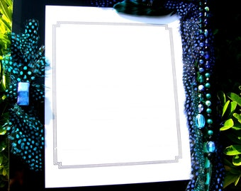 SALE Artistic Picture Frame - Electric Blue - Certificate Frame Embellished With Feathers and Jewels