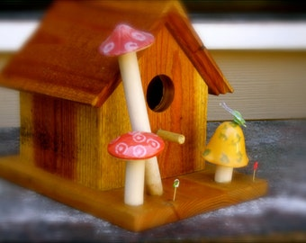 SALE -Cottage Mushroom's Birdhouse