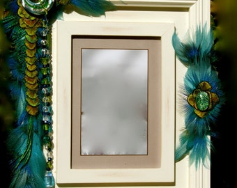 "RESERVED FOR ""M""  Feathered & Jeweled Picture Frame - ""Sea Breeze""  5 x 7 Frame Embellished With Feathers and Jewels"