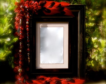 """SALE Feathered & Jeweled Photo Frame - """"Red Fire""""  5 x 7 Frame Embellished With Feathers and Jewels"""
