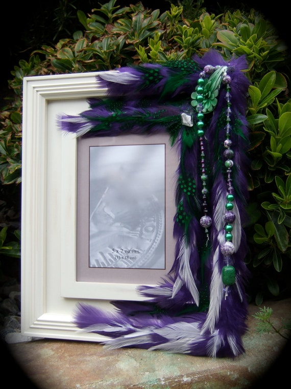 """SALE Artistic Picture Frame - """"The Scent Of Wisteria""""  5 x 7 Frame Embellished With Feathers and Jewels"""