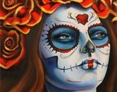 DAY of the DEAD reveller archival print of original oil painting