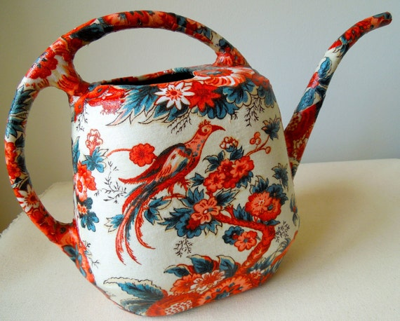 Upcycled Watering Can with Vintage Toile