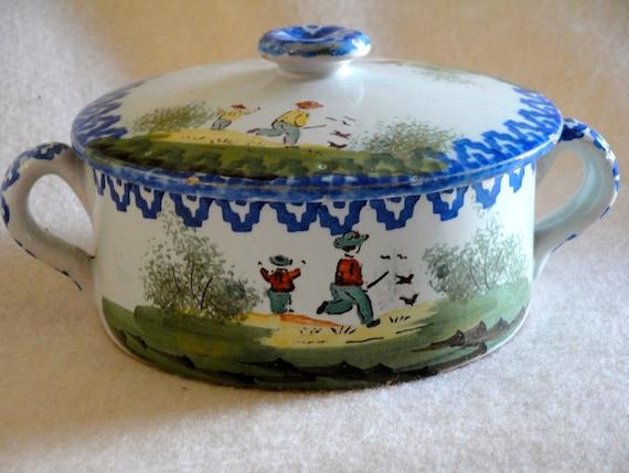 RARE Antique French FAIENCE Porridge Bowl
