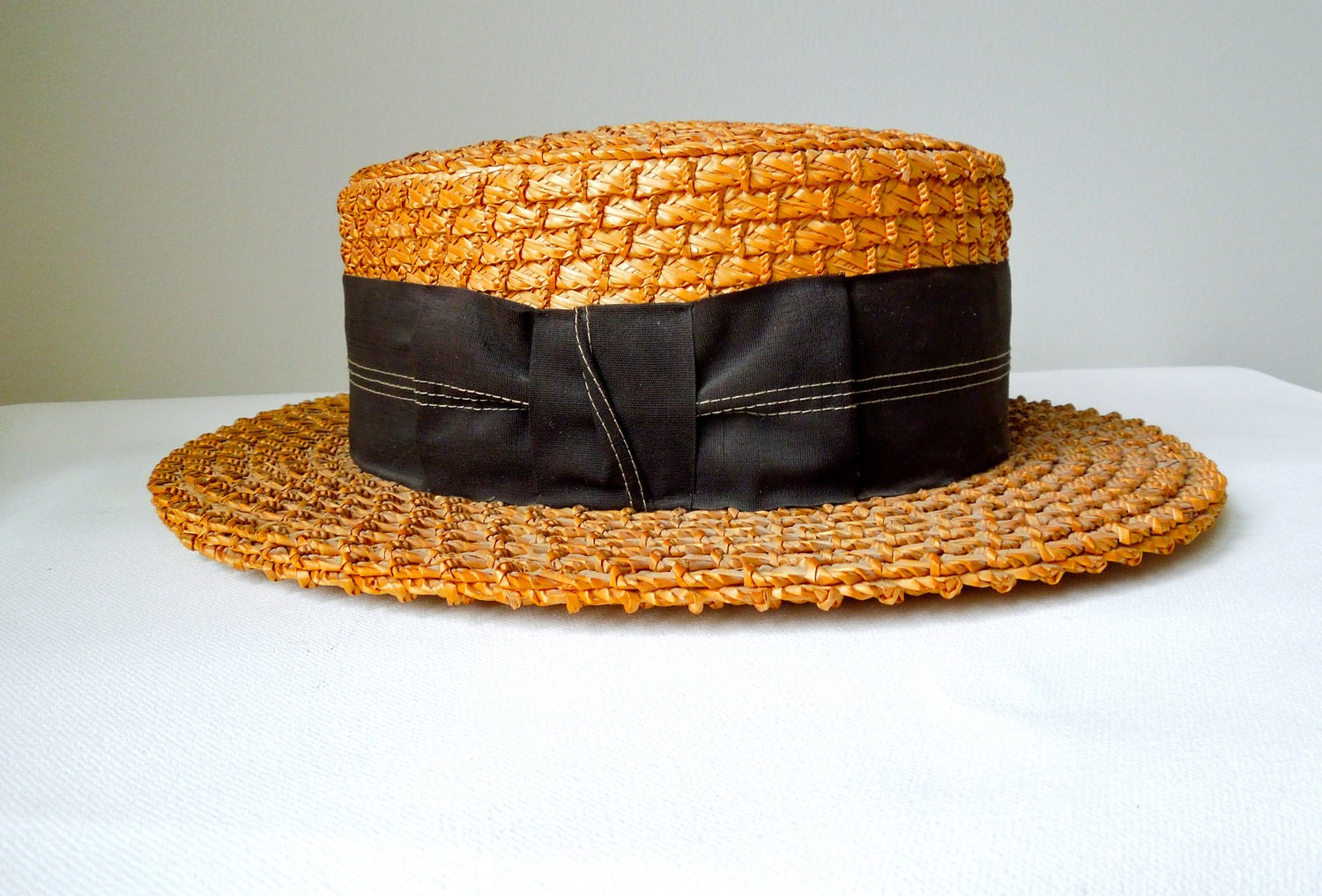 Homewarming Gift Vintage Straw Boater Hat Coco Chanel