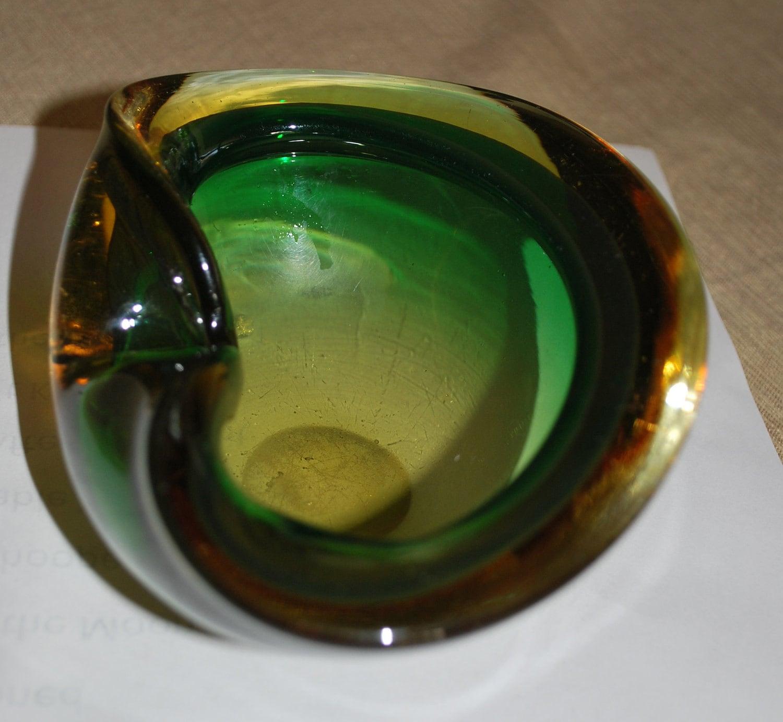 vintage italian blown glass ashtray clam shell green amber