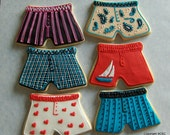 Men's Boxer Style Underwear hand decorated sugar cookies for Bachelor or Bachelorette Parties, gag gifts (#2335)