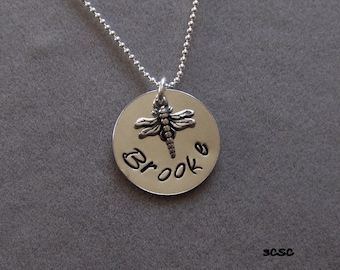 Personalized Sterling Silver Dragonfly Pendant