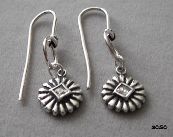 Sterling silver earrings with Cubic Zirconia-oxidized