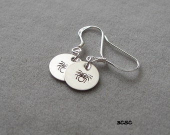 Sterling Silver hand stamped Spider earrings
