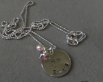 New Baby Girl Mother's Necklace in Sterling Silver with Swarvski crystals
