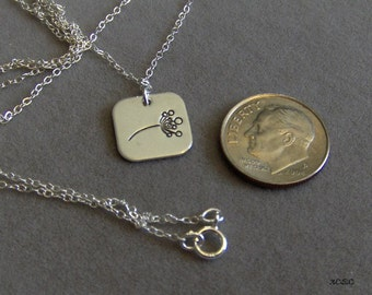 Petite Square sterling silver hand stamped flower in breeze necklace (1217)