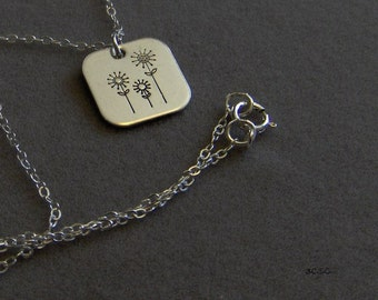 Tres Flores  delicate hand stamped sterling silver flower necklace (1213)