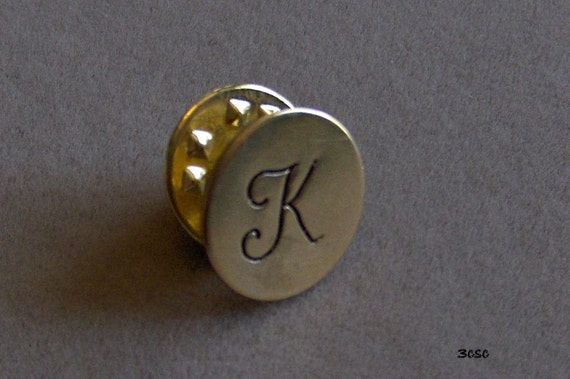 Hand stamped Intitial, Varsity, or Monogram Lapel Pin in Sterling, Copper, or Brass