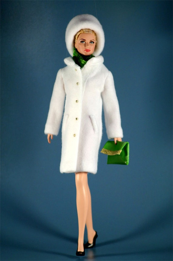 Barbie Doll Clothes Winter White Coat Outfit By