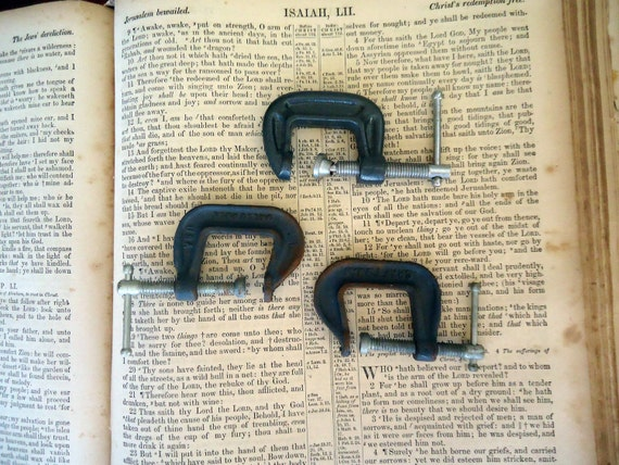 Vintage Tiny Metal C Clamp Set
